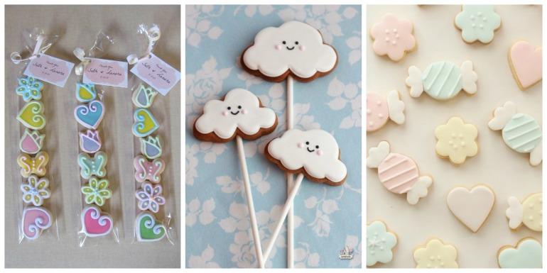 Os biscoitos estão ganhando cada vez mais espaço, esses podem ser em qualquer formato, já que existe milhares de cortadores, e sempre muito coloridos. Há ainda versões no palito.