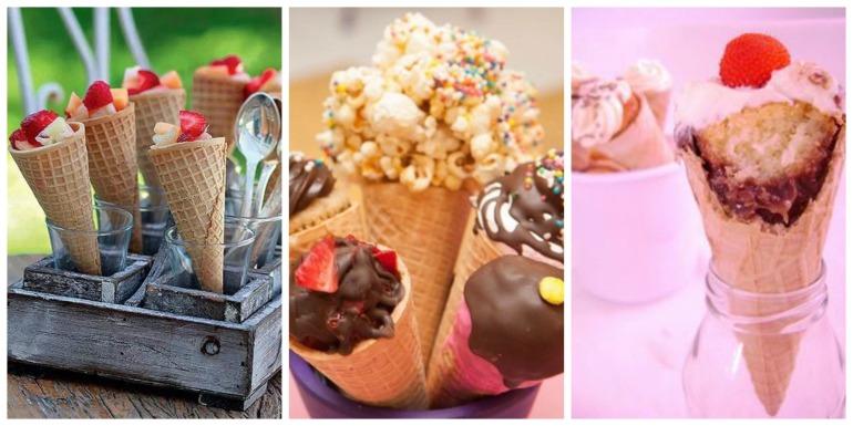 Mas que fofura! Usar casquinhas de sorvete recheadas de diversas gostosuras, já que o sorvete não dá pra ficar exposto, ne? :/ Maas frutas, bolo, brigadeiro.. o céu é o limite. Nhamii!