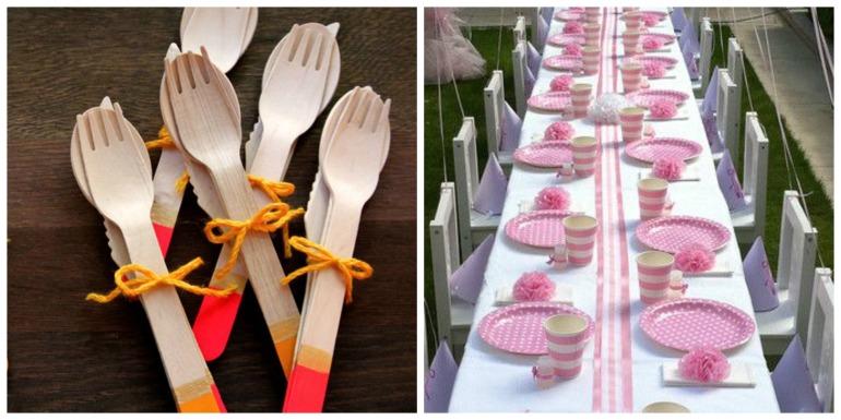 O ideal é usar pratos e talheres reutilizáveis, mas se não der, você for fazer a festa longe de casa. Usar pratos, copos de papel e talheres de madeira.