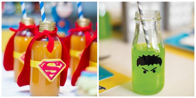 As garrafinhas fantasiadas de super herois são o máximo. Adorei o a do Hulk com esse suquinho verde.