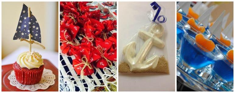 Algumas ideias de comidinhas que lembram o tema. Gostei muito desse chocolate em formato de âncora com açúcar mascavo imitando areia. Abusar das velas também é uma ótima pedida. A ideia do tecido estampado, pode ser usada pra qualquer tema, hein.