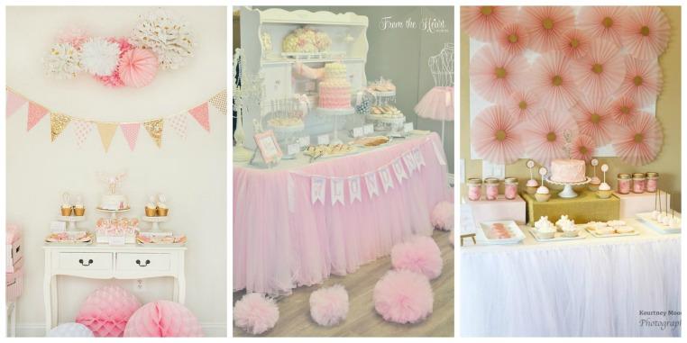 Mesas do bolo lindíssimas,  e a paleta rosa e dourado fica super lindo pra festa bailarina. Algumas ideias também de painel pra mesa do bolo.